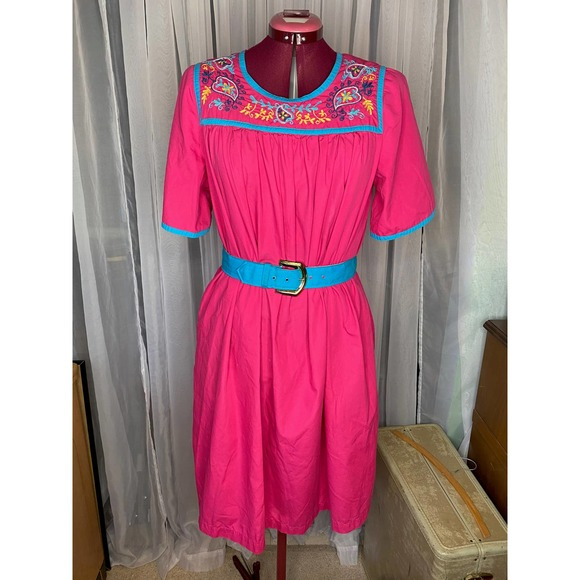 embroidered cotton pink blue dress boho sz L